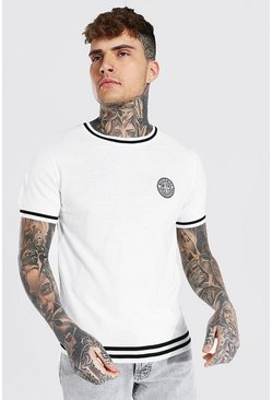 Ecru Varsity Knitted T-shirt With Man Badge