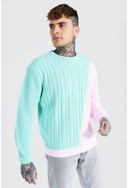 Mint green Spliced Mixed Knit Jumper