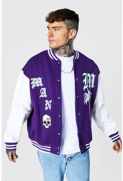 Purple Jersey Varsity Bomber Jacket With Skull Badge