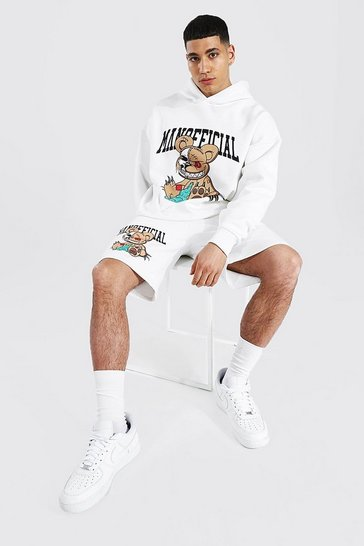Ecru white Oversized Teddy Rhinestone Hoodie & Short