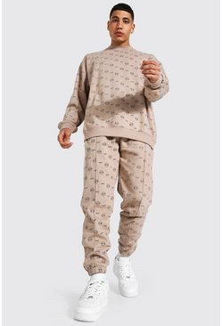 Stone beige Oversized All Over Man Sweater Tracksuit