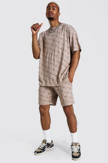 Stone beige Oversized All Over Man T-Shirt And Short Set