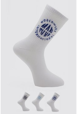 3 Pack Man Worldwide Socks, Multi