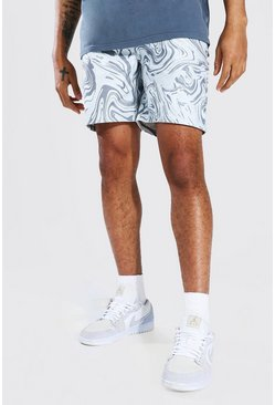 White Relaxed Fit Aop Marble Denim Short
