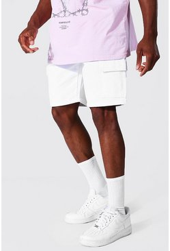 White Relaxed Fit Rigid Cargo Jean Short