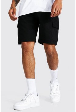 True black Relaxed Fit Rigid Cargo Denim Short
