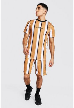 Yellow Man Sig Slim Fit Stripe T-shirt And Short Set
