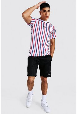 Red Man Slim Fit Stripe T-shirt And Tricot Short Set
