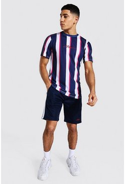 Navy Man Slim Fit Stripe T-shirt And Tricot Short Set