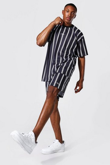 Black Oversized Man Stripe T-shirt & Short Set