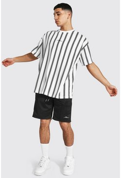 Oversized Man Stripe Tee & Tricot Short Set, White bianco