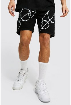 True black Relaxed Fit Barbed Wire Print Denim Short