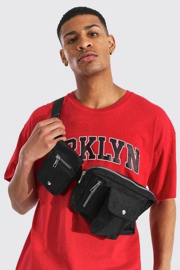 Black Double Pocket Chest Rig Bag