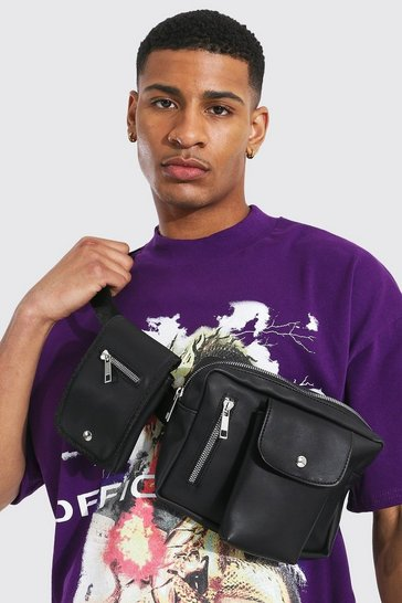 Black Coated Canvas Double Pocket Chest Rig Bag