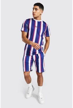 Navy Man Sig Slim Fit Stripe T-shirt And Short Set