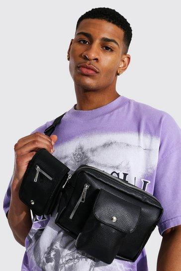 Black Faux Leather Double Pocket Chest Rig Bag