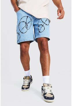 Ice blue Relaxed Fit Barbed Wire Print Jean Short