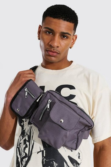 Charcoal grey Double Pocket Chest Rig Bag