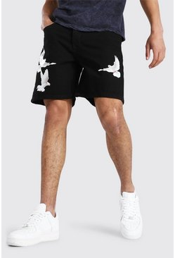 Relaxed Fit Jeansshorts mit Tauben-Print , True black