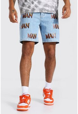 Ice blue Relaxed Fit Man Fire Print Jean Short