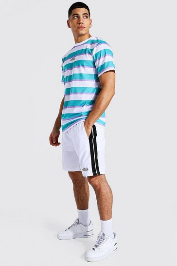 Green Offcl Slim Fit Stripe T-Shirt And Tricot Short Set