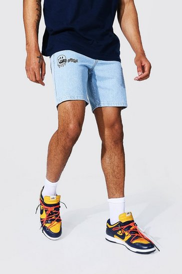 Ice blue Slim Rigid Drip Face Printed Denim Short
