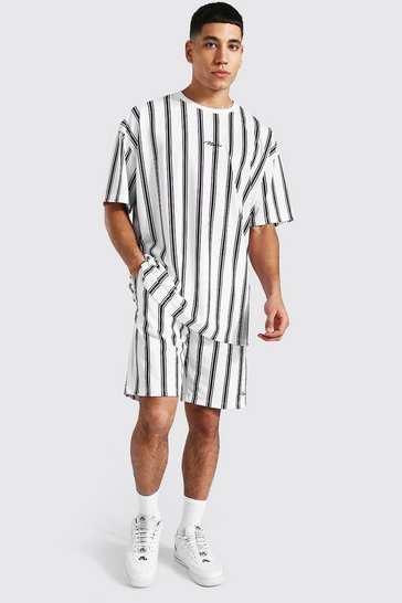 White Oversized Man Stripe T-shirt & Short Set