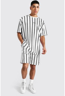 White Oversized Man Stripe T-shirt & Short Set