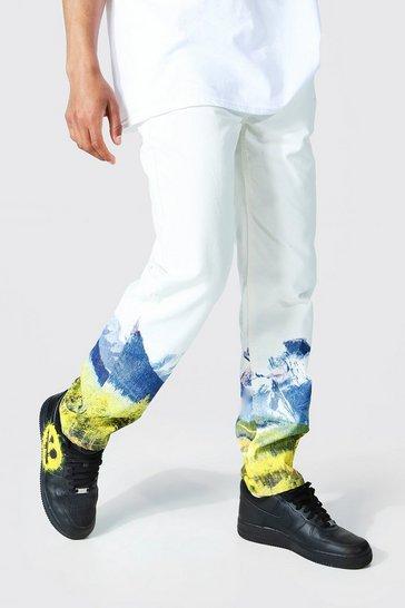 Ecru white Relaxed Fit Mountain Print Jean