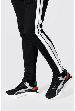 Colourblock Mesh And Pu Runner , Black Чёрный