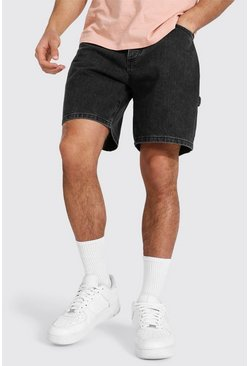 Relaxed Fit Jeansshorts, Charcoal grau