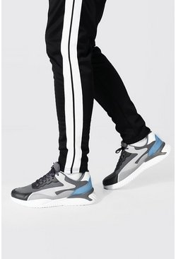 Colourblock Mesh And Pu Runner , Charcoal Серый