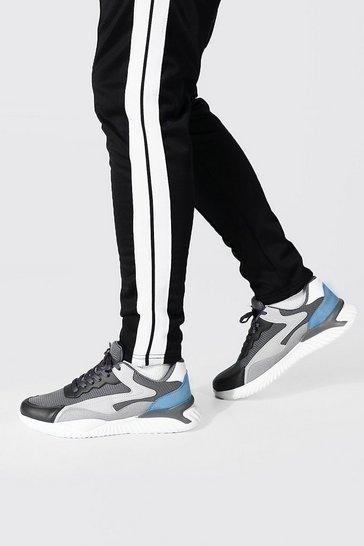 Charcoal grey Colourblock Mesh And Pu Runner