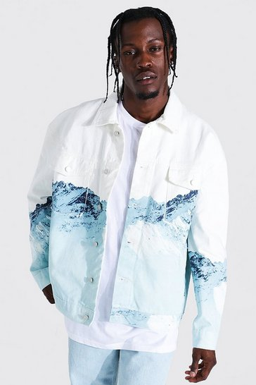 Ecru white Oversized Ice Mountain Print Denim Jacket