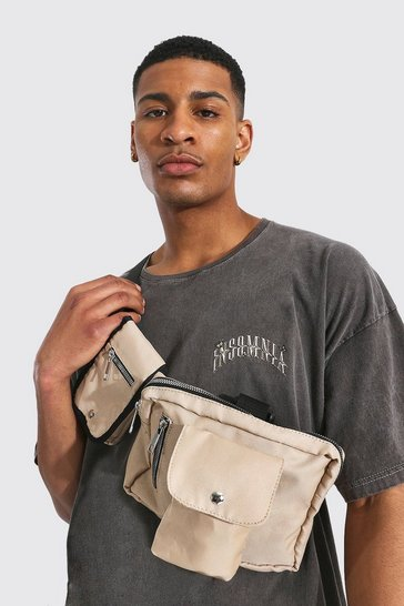 Stone beige Double Pocket Chest Rig Bag