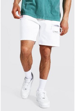Relaxed Fit Jeansshorts, White weiß