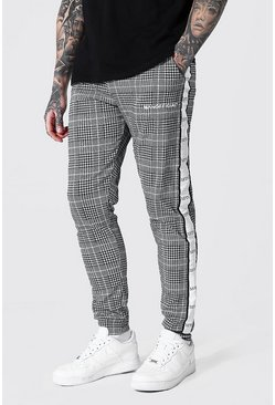 White Skinny Man Side Tape Jacquard Joggers