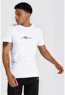 White Man Signature Embroidered Longline T-shirt