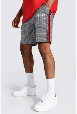 Red Regular Mid Length Man Tape Jacquard Shorts