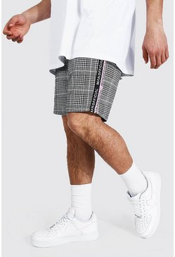 Pale pink pink Regular Mid Length Man Tape Jacquard Shorts