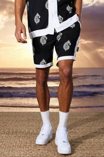 Black Tall Loose Fit Viscose Border Print Shorts