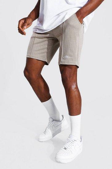 Stone beige Slim Man Signature Jacquard Pintuck Shorts