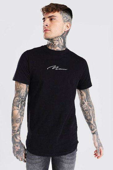 Black Man Signature Curved Hem Longline T-shirt
