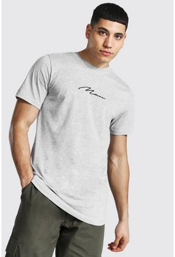 Grey marl grey Man Signature Curved Hem Longline T-shirt