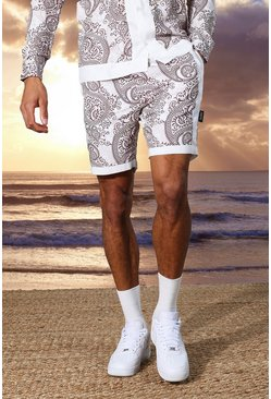 Ecru white Tall Mid Length Viscose Paisley Border Shorts