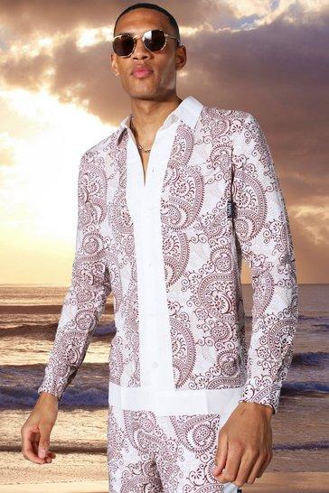 Ecru white Tall Long Sleeve Viscose Paisley Border Shirt