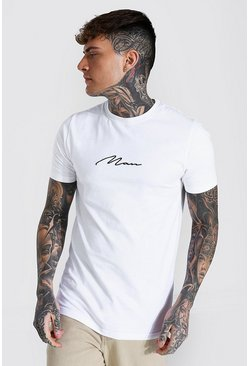White Muscle Fit Man Signature Longline T-shirt