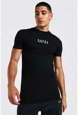 Black Muscle Fit Original Man Longline T-shirt
