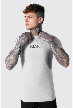 Grey marl Muscle Fit Original Man Longline T-shirt