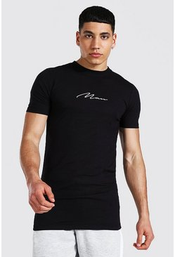 Black Muscle Fit Man Signature Longline T-shirt